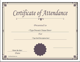 13 Best Images Of Free Printable Attendance Certificates