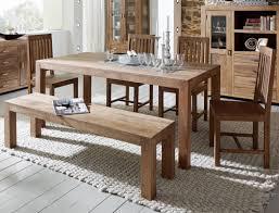 Tischgruppe Bihar Akazie Massiv Stone Esstisch Sitzbank 4x Holzstuhl