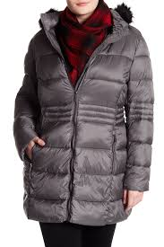 french connection full zip faux fur trim hooded puffer jacket plus size steel grey