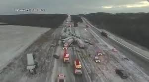 Drone video shows aftermath of 50-car pile-up on Interstate 44 in ...