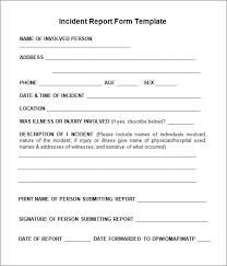Basic Incident Report Template Incident Report Sample Incident Report Template Report Template