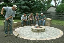 build a round patio with a fire pit