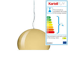 small fl y pendant lamp by kartell in gold
