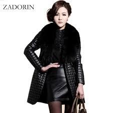 2019 winter fashion faux leather jacket with large fur collar women black faux sheepskin coat long leather jacket veste en cuir