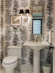 bathroom black geometric wallpaper