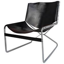 rare pierre paulin leather and steel lounge chair for a originals