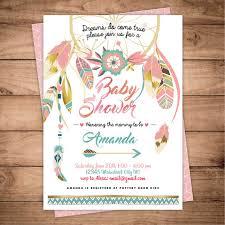 Dream Catcher Baby Shower Invitations Dreamcatcher boho Baby Shower invitation Digital printable 37