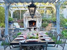 outdoor stone fireplace. Victorian Outdoor Dining Room Stone Fireplace