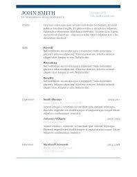Simple Free Resume Template – Tigertweet.me
