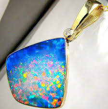 details about 17 4ct 14k gold rare large natural opal diamond pendant jewelry necklace a33