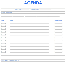 Easy To Use Meeting Agenda Template Using Blue And White Matching