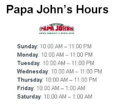 Papa John's Pizza Opening Hours