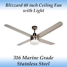 blizzard 48 inch 1200mm marine grade stainless steel outdoor ceiling fan with light
