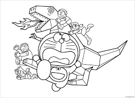 Doraemon And Metal Dinosaur Coloring Page