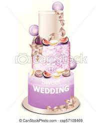 Wedding Cake Vector Delicious Dessert With Fruits Sweet Designs