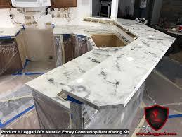 after installation pic of our diy metallic countertop resurfacing kit