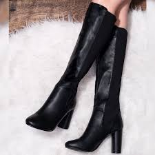 torque stretch block heel knee high tall boots black leather style