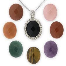 8 stones interchangeable pendant in silver