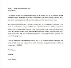 Writing Reference Letters For College Students Sample Letter Of