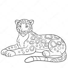 Kleurplaten Schattig Jaguar Glimlacht Stockvector Ya Mayka