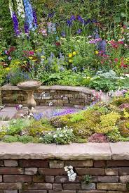 colorful mixed perennial flower garden