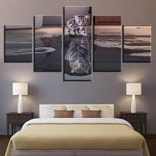<b>5 Pieces</b> Cats Tigers Animals Modern Decor Canvas Wall Art <b>HD Print</b>
