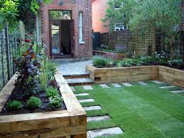 Backyard Raised Garden Designs Raised Patio Sleeper Beds Garden Small Garden Design