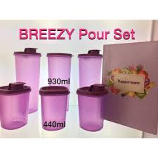 tupperware 6pcs breezy pour with gift box 3x440ml 3 x930ml