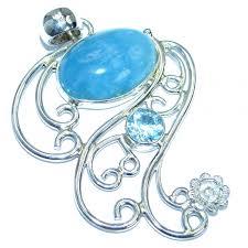 large genuine aquamarine swiss blue topaz 925 sterling silver handmade pendant
