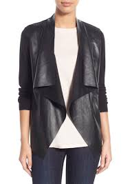 michael michael kors faux leather knit cardigan