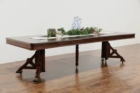 aston court foot dining room table victorian eastlake  antique walnut dining table  leaves