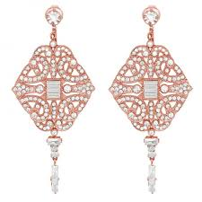 paris chandelier rose gold event earrings by stephanie browne