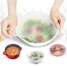 <b>4pcs Food Fresh Keeping</b> Silicone Saran Wrap Reusable Food ...