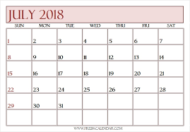 Free Printable Monthly Calendar July 2018 Template Fresh Calendar Com