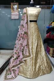 Indian Wedding Malai New Design Ethnicmode Indian Cream Color Malai Satin Fabric Designer
