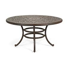 cool round metal patio dining table from telescope casual 48 inch round glass top patio dining