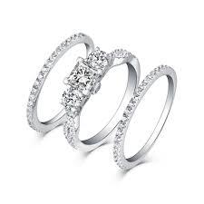 Princess Cut S925 Silver White Sapphire 3 Piece 3 Stone Ring Sets