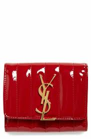 Saint Laurent Vicky Patent Leather Trifold Wallet