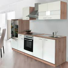 Respekta Küchenzeile KB270ESWC 270 cm Weiß Eiche Sägerau