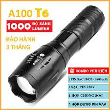 Đèn Pin Siêu Sáng A100 Bóng T6 cao cấp, chiếu sáng cực xa có thể sạc lại,  hợp kim chống nước - Đèn pin Nhãn hàng No brand