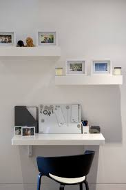 small home office desk. Blue Chair In Front Of A Small Home Office Desk I