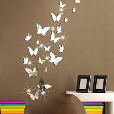 amaonm 21 pcs removable crystal acrylic mirror erfly wall decals fashion diy home decorations art decor wall stickers murals for kids nursery room