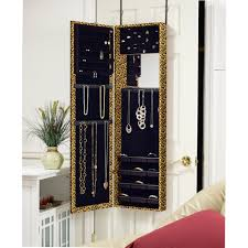 Amazoncom Mirrotek Jewelry Armoire Over The Door Mirror Cabinet Leopard  Home U0026 Kitchen Wall Mounted Jewelry Cabinet U19