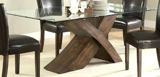wooden table bases for glass tables interesting wood base dining throughout top with coffee dark w glass table top natural wood base
