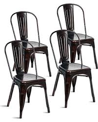 distressed metal furniture. Merax Indoor-Outdoor Use Tolix Style Distressed Metal Bistro A Dining Side Chair Stackable Highback Furniture