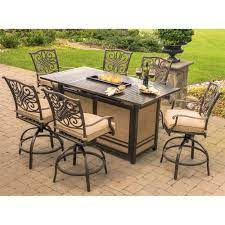 Hanover Traditions 7 Piece High Dining Set In Tan With 30 00