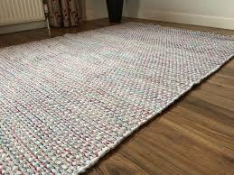 country chic cotton flat weave rug pale pastel red green grey elegant flat woven rugs uk