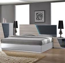 1pc Bed Gray & White Lacquer Bedroom Set California King Size ...