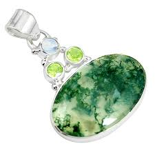 925 sterling silver natural green moss agate pendant