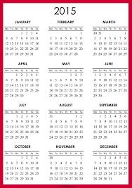 2015 Calendar Printable Free Red Monday Start Nycdesign